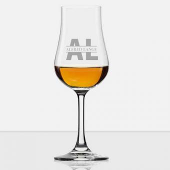 Whisky Glas mit Stiel mit gravierten Initialen