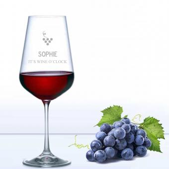Rotweinglas WINE O CLOCK mit Namen graviert