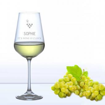 Weißweinglas WINE O CLOCK mit Namensgravur