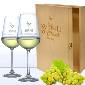 Edle Weißweingläser in 3er Holzkiste WINE O CLOCK mit Namensgravur