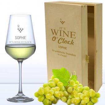 Edles Weißweinglas in 2er Holzkiste WINE O CLOCK mit Namensgravur