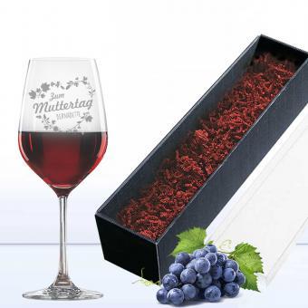 Edles Rotweinglas in Geschenkverpackung für die Mama