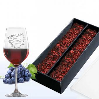 Rotweinglas mit Gravur zum Muttertag in Geschenkverpackung