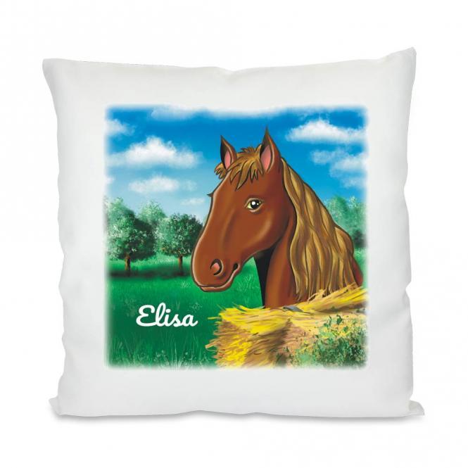 kissen f r m dchen mit pferdemotiv und namen bedruckt geschenkplanet. Black Bedroom Furniture Sets. Home Design Ideas