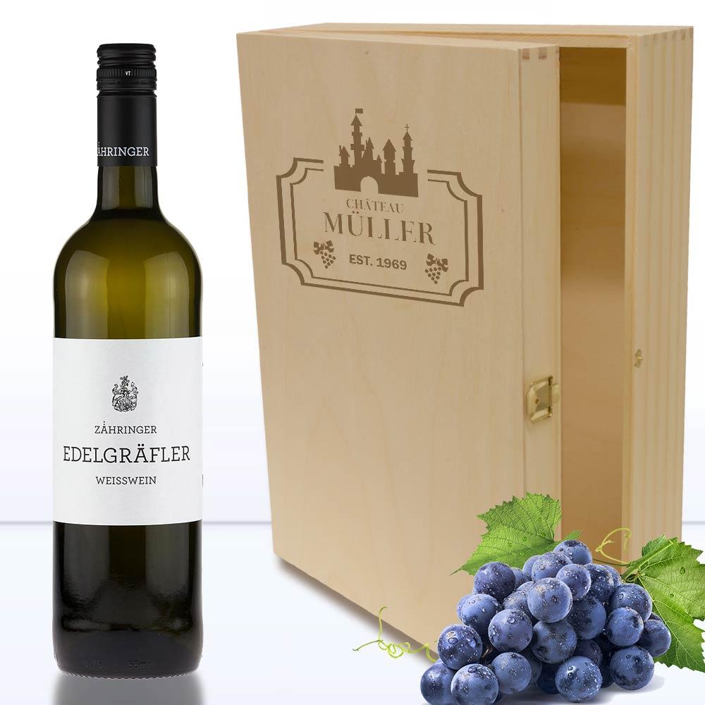 Holzbox für Wein-und Sekt- Geschenke mit Namen 3er | Geschenkplanet