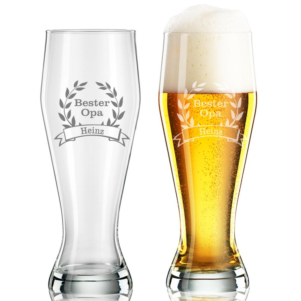 Weizenglas  Weißbierglas Weizenbier-Glas Gravur mit Namen u.Geburtstag Jubiläum
