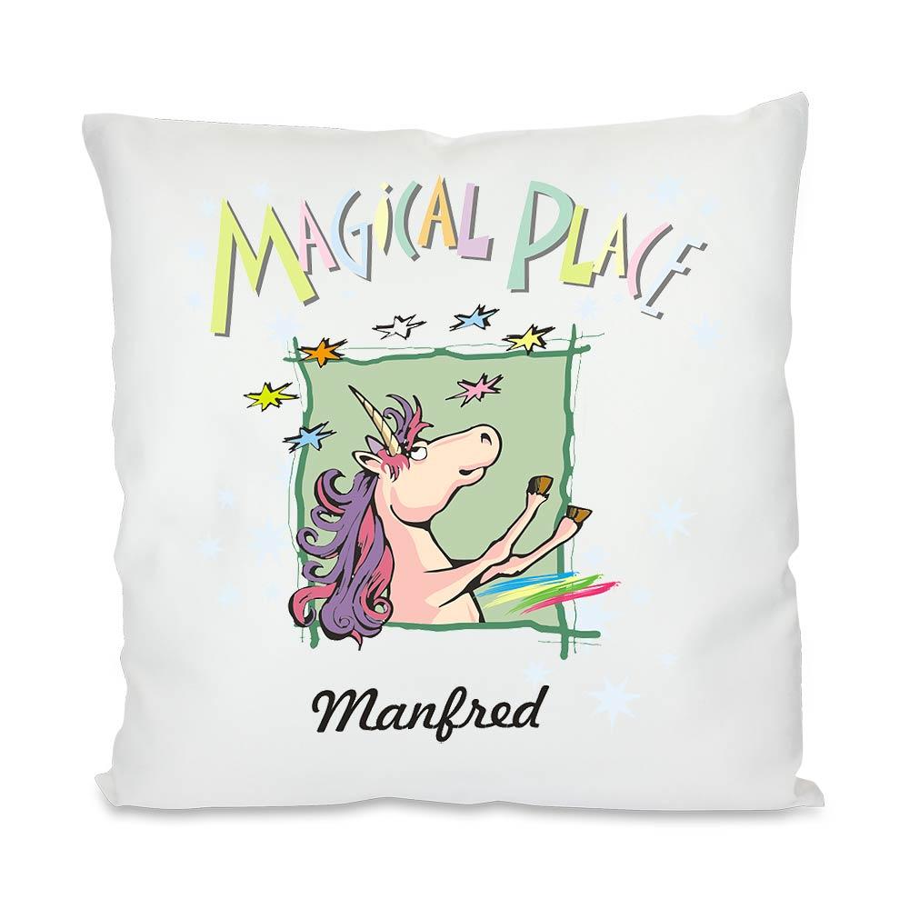 einhorn kissen mit magischem spruch und namen geschenkplanet. Black Bedroom Furniture Sets. Home Design Ideas