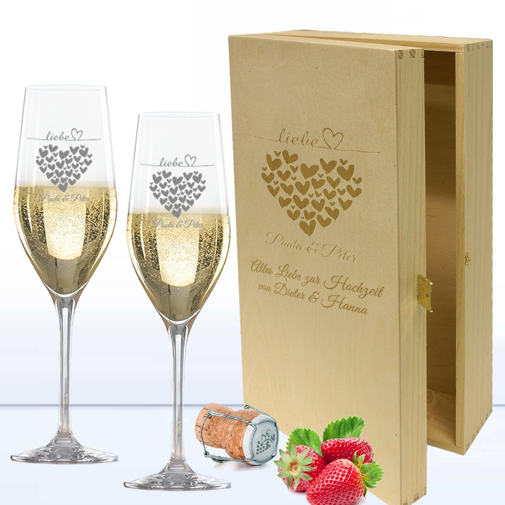 Sekt Geschenk Set In 2er Holzkiste Mit Romantischer Herzen Gravur